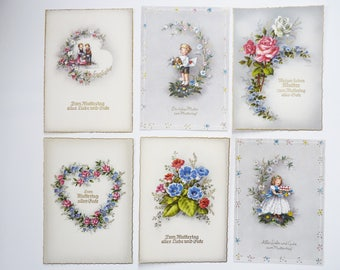 Postcards greeting card mothers day mixed A 1940s Germany Ephemera VINTAGE 6 pcs