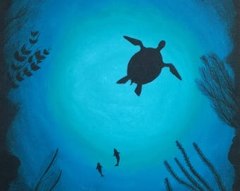 Turtle  silhouette, Amazing turquoise turtle abstract art, Original abstract painting, Modern Decor, Acrylic Abstract Painting, Modern Art