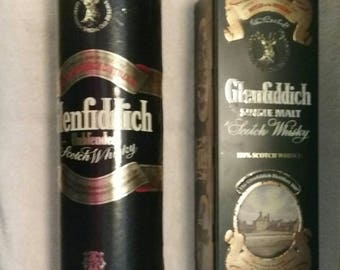 Vintage Glenfiddich Scotch Whiskey Cylinder and Tin/New/Lined/Liquor Boxes/Bar Decor