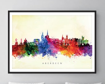 Aberdeen Skyline, Aberdeen Scotland Cityscape Art Print, Wall Art, Watercolor, Watercolour Art Decor [SWABZ04]