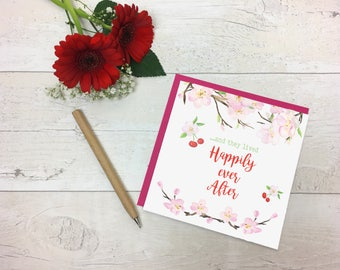 and they lived happily ever after - wedding day card - Lived Happily Ever After, Anniversary Card, Happy Wedding Card, Fairy Tale Wedding