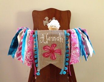 Tropical first birthday high chair banner / Baby Moana theme / cake smash banner / photo shoot prop / fabric garland / custom burlap flag