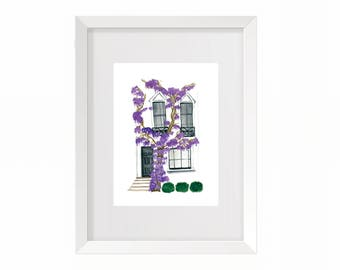 White House with Purple Flowers Art Print