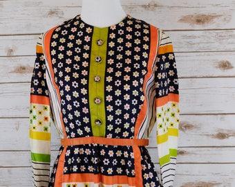 Vintage Floral Folk Dress