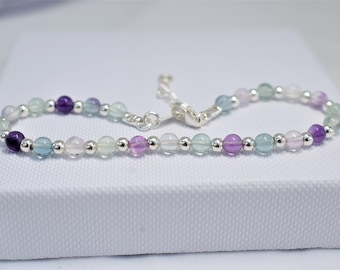 Sterling Silver bracelet with Fluorite and silver beads