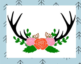 Antler floral swag svg Deer antler svg Deer svg Deer antlers svg Floral svg Flower svg Rose svg files for Cricut Silhouette vector cut file