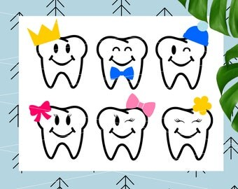 Teeth SVG Bundle for Tooth Fairy Bags Tooth svg Tooth Fairy Svg Create your own svg for Cricut Silhouette Cutting File svg dxf png eps lfvs