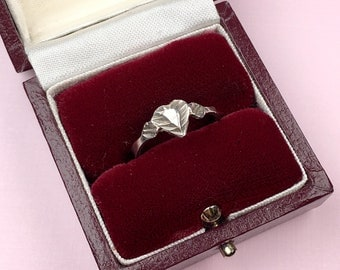 Silver Heart Ring   Stacking Ring   Boho   Vintage