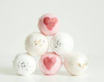 Bath Bomb Set - 6 Bath Bombs - Homemade Bath Bombs - Valentine's Gift For Her - Relaxing Bath Bombs - Romantic Gift - Natural Bath Fizz Set