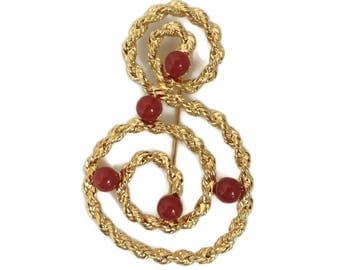 AVON Treble Cleft Brooch Pin, Large Gold Spiral Brooch, Red Bead Brooch, 1980s Jewelry, Music Lovers Gift