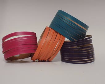 Multi strand Leather Bracelet, Multi strand Leather Cuff, Men's and Women's Leather Cuff, Leather Cuff, Leather Bracelet, Leather Jewelry