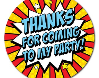 Popart style 'Thanks For Coming To my Party' - 30mm diameter party stickers