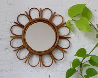 15% Off Vintage French Bamboo and Rattan Sunflower Mirror (Circa 1960s)
