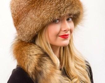 Red Fox Fur Full Hat Saga Furs Detachable Tail