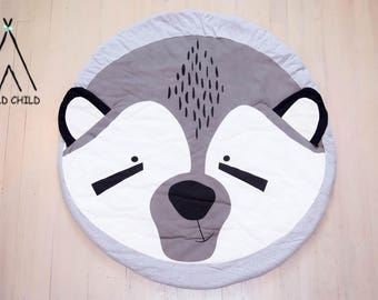 Fox Designs round Cotton Play Mat Nursery Décor Crawling Mat Baby Shower Gift Tummy Time Activity Mat