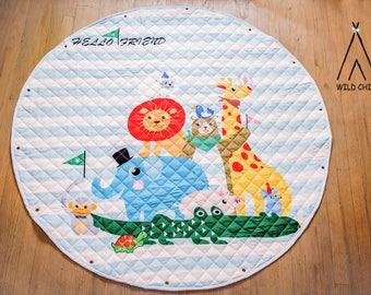 Animals Print, pack and play, toy organizer, Lego organizer, storage, Cotton, Anti-slip, Kids Room Décor, Play Mat, toys bag