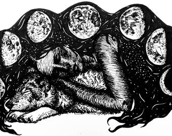 Original Black and White Ink Illustration - The Wolf and the Moon - A4 Fairytale artwork - goddess cycle phases stars galaxies space night