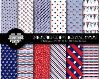 COD19-70% OFF SALE-Patriot Day Digital Paper-Independence paper-4th of July paper-Labor day digital paper-Scrapbook printable