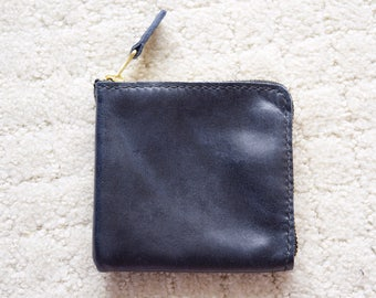 ZIPPER WALLET - Leather coin purse, Leather zipper wallet, Leather card wallet, Small wallet, Card holder, Zipper pouch - Navy vegan leather