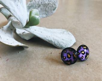 Earrings | Stud Earrings | Black Earrings | Black Stud Earrings | Gifts for Her | Leopard Earrings