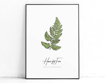 Printable Fern Wall Art Decor, Fern Botanical Print, Fern Wall Hanging, Green Leaves Poster, Modern Leaves Print, Modern Large Art