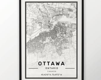 Ottawa City Map Print Modern Contemporary poster in sizes 50x70 fit for Ikea frame 19.5 x 27.5 All city available London, New York Paris