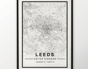 Leeds City Map Print Modern Contemporary poster in sizes 50x70 fit for Ikea frame 19.5 x 27.5 All city available London, New York Paris