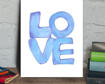 Love typography digital print, love printable art, love nursery wall decor, love digital art print, blue love print, wedding printable art