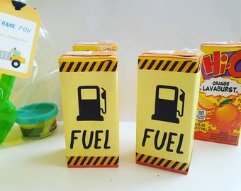 6 ct. + Construction Theme Juice box Labels - PRINTED - Birthday - juice box labels - Party supplies - Fuel Juice box labels