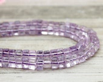 Amethyst Triangle Heishi Transparent Purple Gemstone Beads