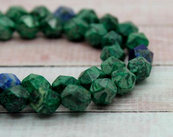 Azurite Round Faceted Gemstone Beads Full Strand (8mm, 10mm)