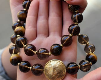 Women's Necklace Quartz and Tiger's Eye with Spacers and silver Magnetic Closure