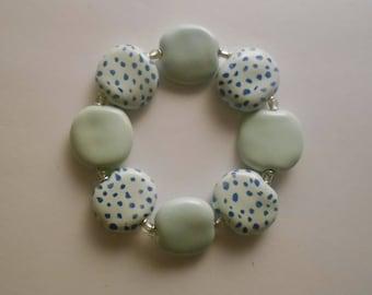 A lovely pale blue Kazuri hand made hand painted ceramic bead bracelet