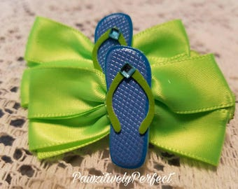 Green Hair Bow with Blue Flip Flops
