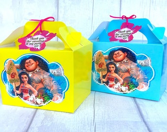 MOANA & MAUI Birthday Party treat, sweets, lunch, gift Box Personalised x 1