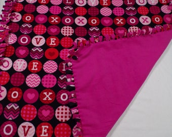 Hearts and Love Fleece Blanket