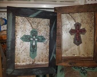 Cross on tin shingle