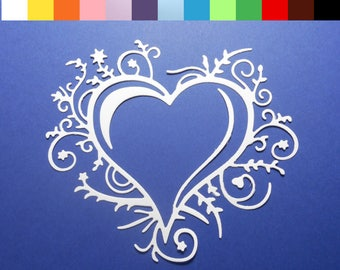 "Delicate Flourish Heart Die Cuts - 3 7/8"" x 3 1/2"" Color choice, Cardstock Paper Hearts, Embellishments, Scrapbooking, Card Making, 4 pc"