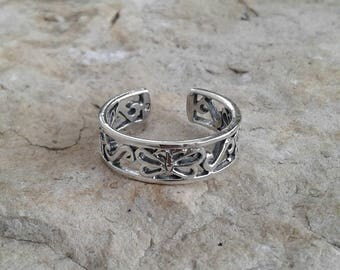 Toe Ring, Solid Sterling Silver Butterfly Toe Ring, Body Jewelry, Adjustable Toe Ring