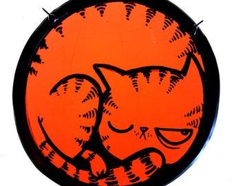stained glass suncatchet cat