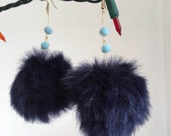 Navy Blue Puff Drop Earrings