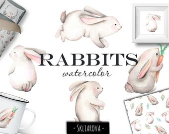 Rabbit clipart Digital watercolor rabbit Rabbit illustration Animal clipart Cute hare Watercolor digital animal Seamless pattern Child print