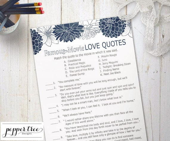 Famous Movie Love Quotes Cards Bridal Shower Activity Blue Magnificent Famous Movie Love Quotes