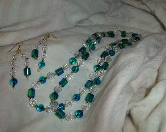 Glass Objects 2 piece necklace and earring set