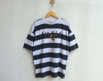 Vintage 90's Mickey Mouse Stripe T-Shirt Embroidery Cartoon Nice Design