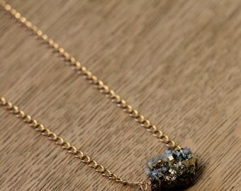 Pyrite nugget on a gold chain necklace