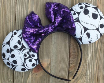 Halloween Minnie Ears, Disney Ears, Minnie Mouse Ears, Mickey Ears, Jack Skellington Mickey Ears, Mouse Ears, Halloween Ears