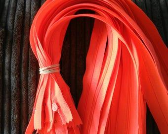Zippers, zips, nylon zips, 16 inch long zippers, closed end zips, 3mm side zips, multi colours of zips