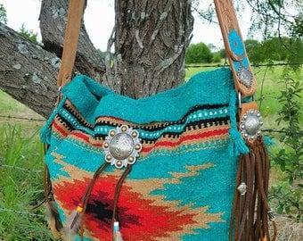 Turquoise Saddle Blanket Bag Custom