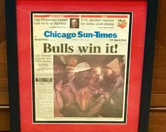 Chicago Bulls 1991 NBA Champions - Chicago Sun Times Newspaper - Custom Framed & Matted